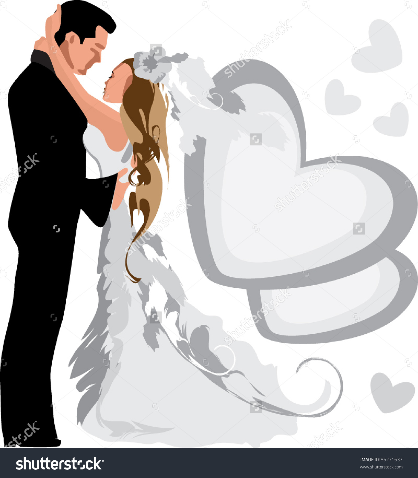 Clipart of two people wedding clip art black and white stock Love Man Woman Two Wedding Marriage Stock Vector 86271637 ... clip art black and white stock