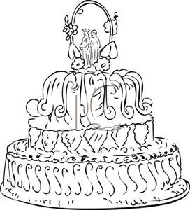 Clipart of two people wedding clip art library library Three Layer Wedding Cake with Two People At the Top Under an Alter ... clip art library library