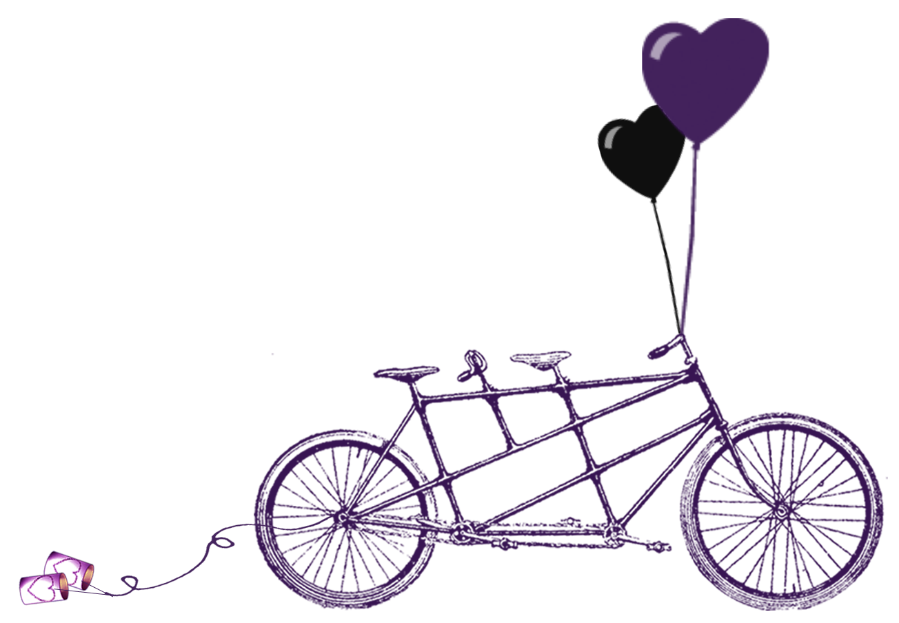 Clipart of two people wedding clipart royalty free stock Vintage tandem bike for two with basket clipart transparent ... clipart royalty free stock