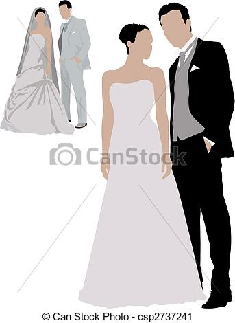 Clipart of two people wedding graphic transparent download Vector Clip Art of Wedding two couples. Color vector illustration ... graphic transparent download