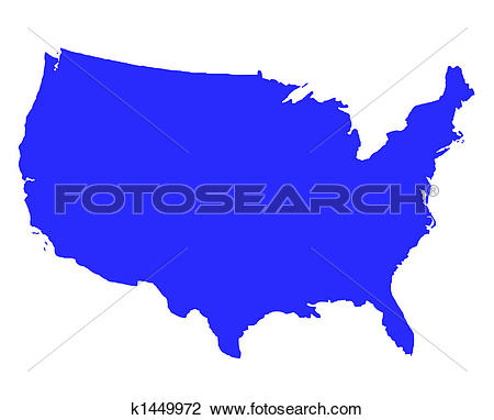 Clipart of united states image black and white download Clip Art of United States of America outline map k1449972 - Search ... image black and white download