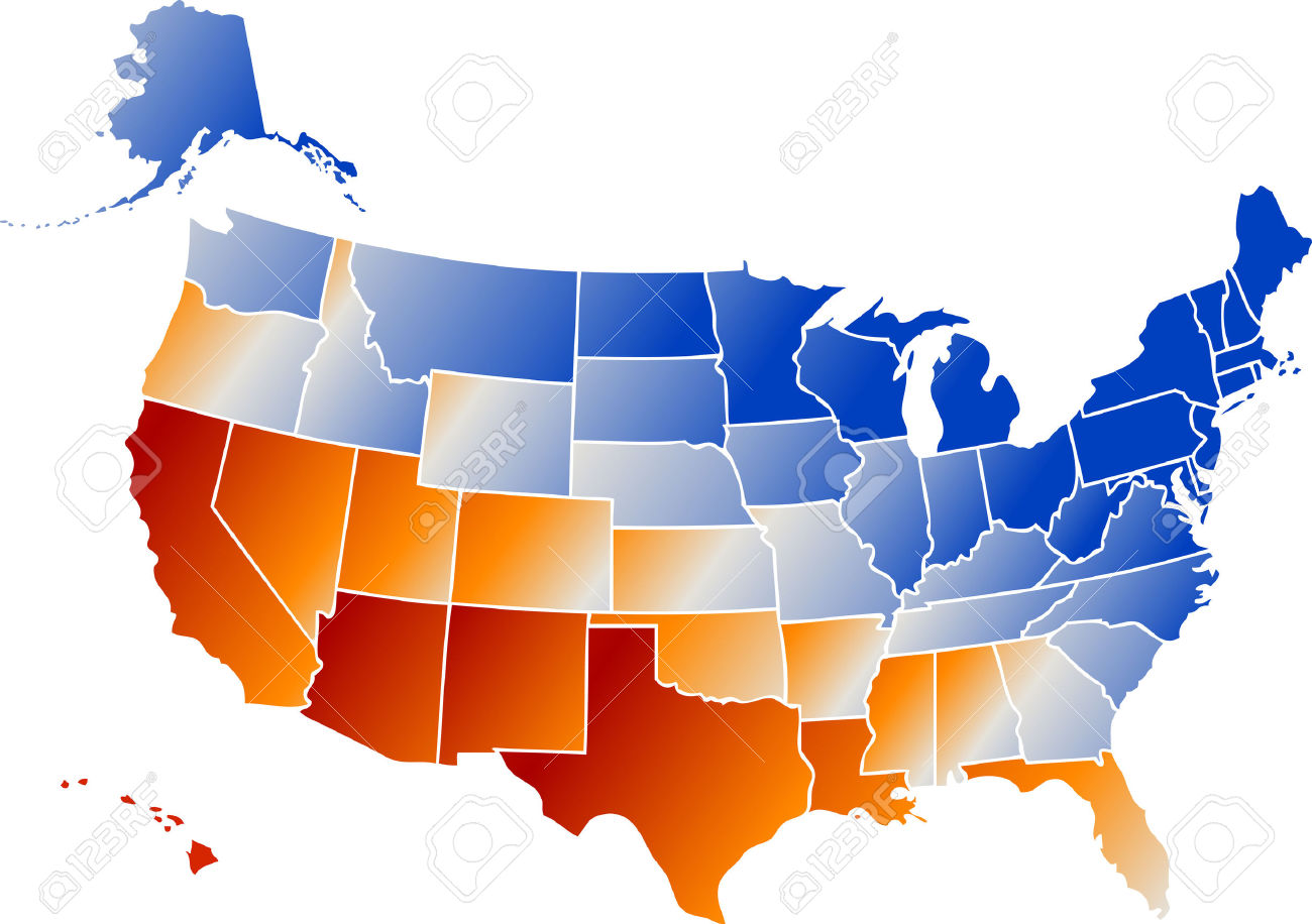 Clipart of united states jpg royalty free Vector Clip Art Map Of United States Of America USA, With All ... jpg royalty free