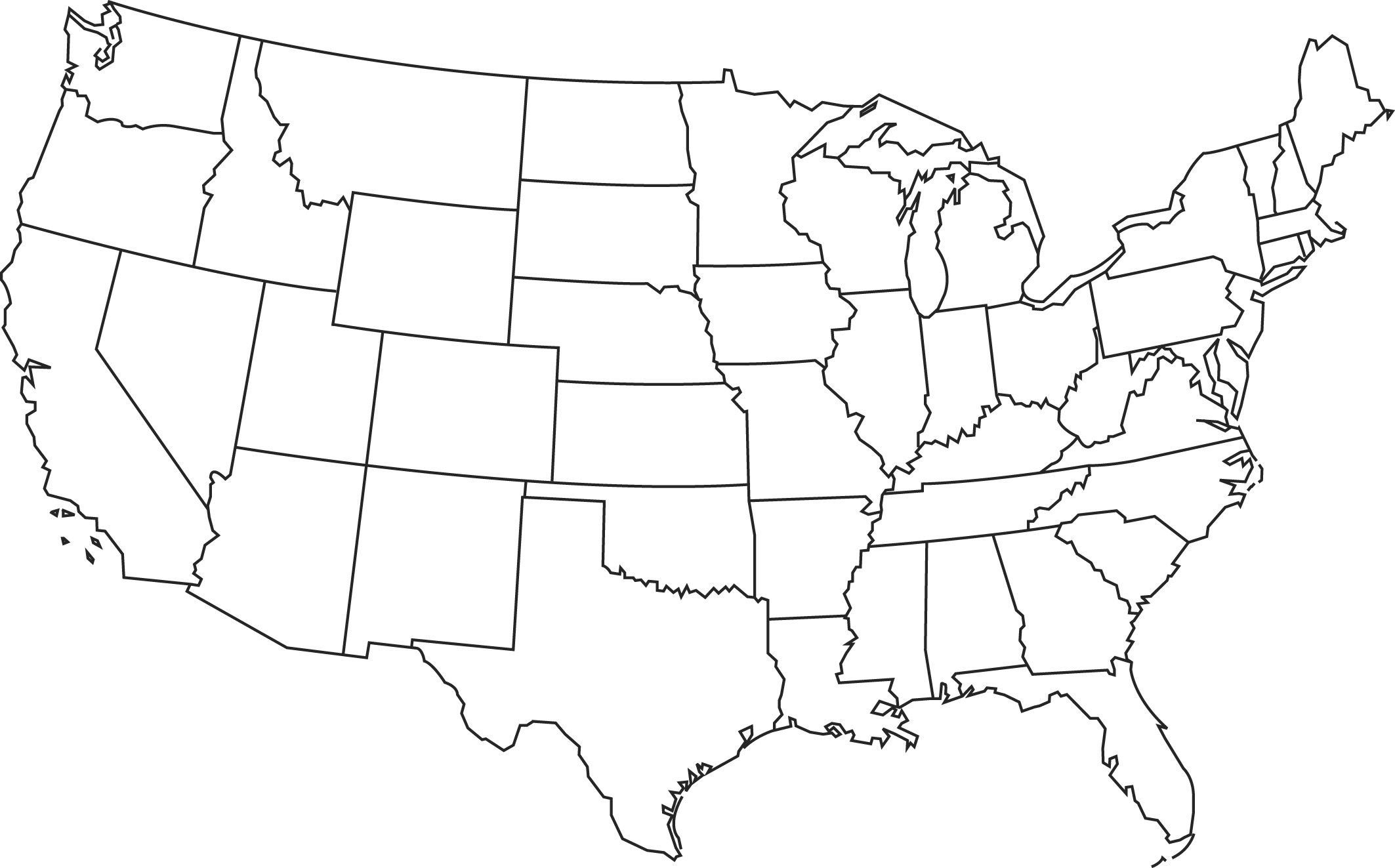 Clipart of united states map outline picture black and white library United States Map Template. the 40 best template of usa map ... picture black and white library