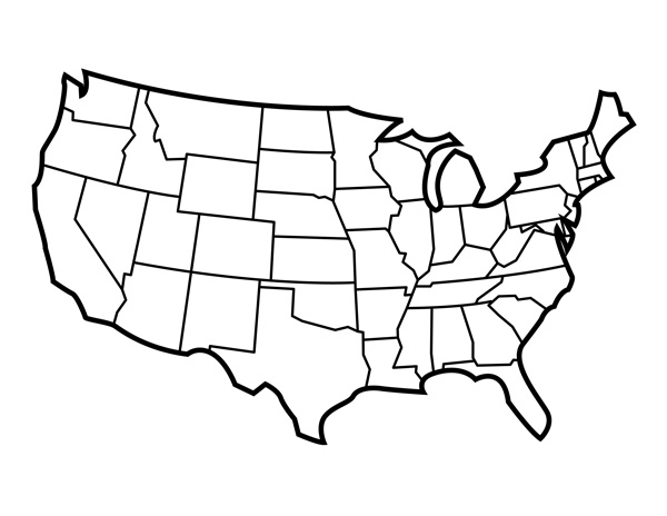 Clipart of united states map outline image Us States Outline Clipart - Clipart Kid image