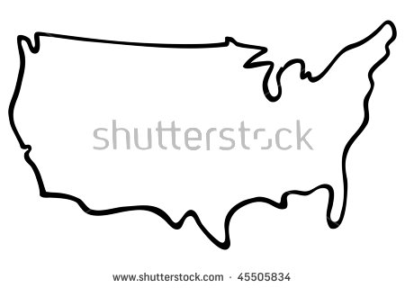 Clipart of united states map outline clip black and white stock United States Map Outline Stock Images, Royalty-Free Images ... clip black and white stock