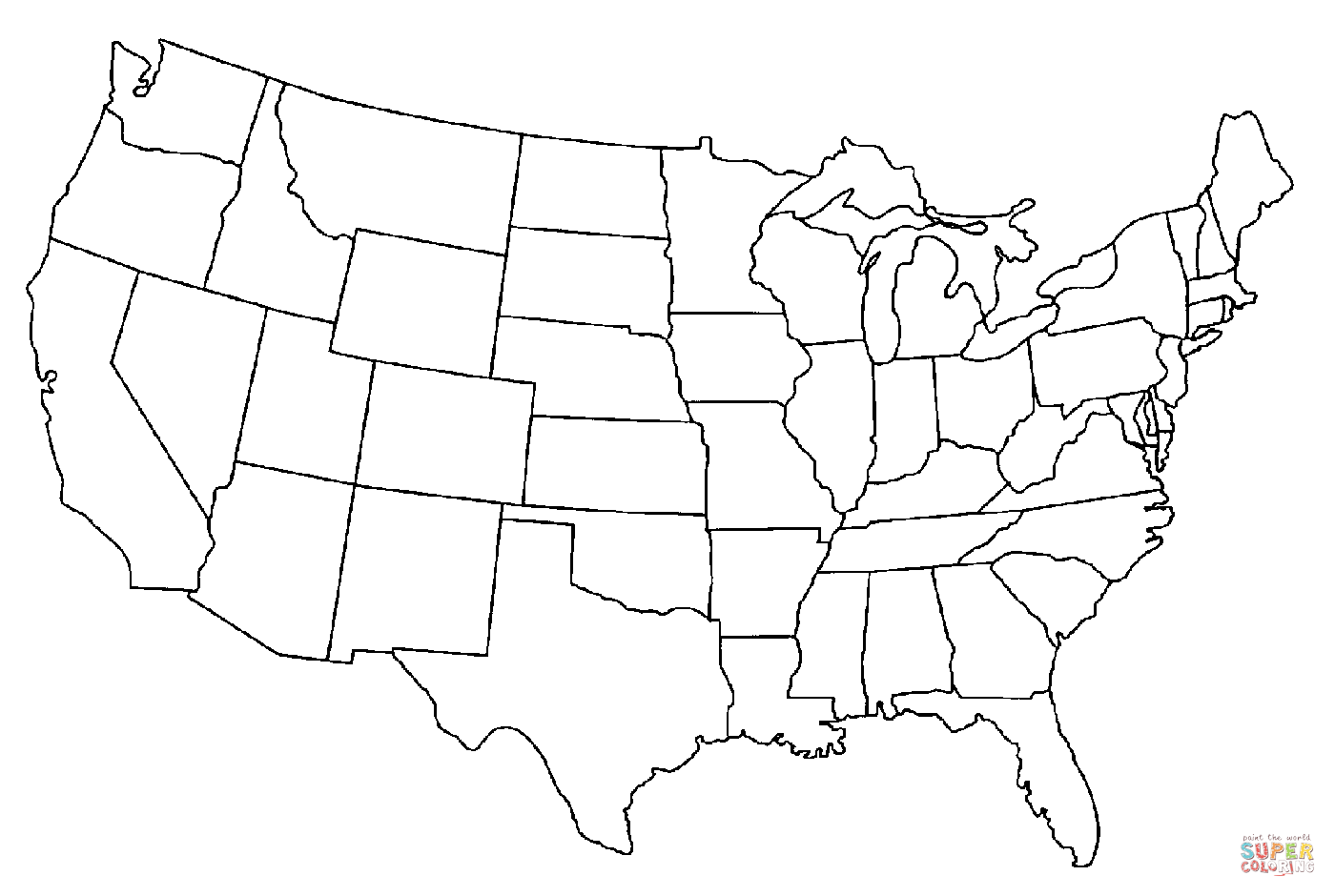 Clipart of united states map outline transparent download Map Of the United States Of America coloring page | Free Printable ... transparent download