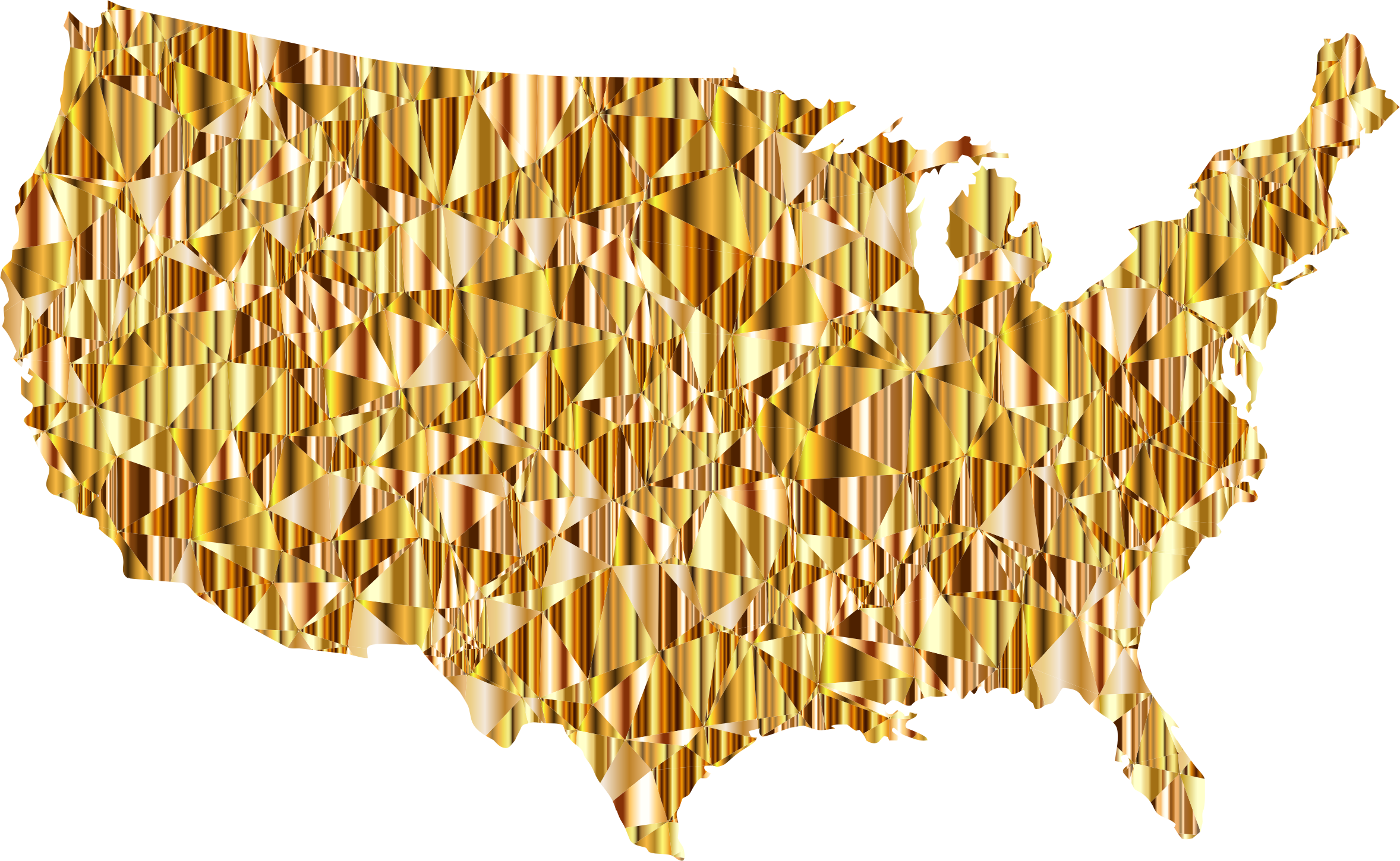Clipart of us map png royalty free download Clipart - Gold Low Poly America USA Map png royalty free download