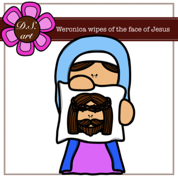 Clipart of vironivca wipes the face of jesus clip royalty free stock Veronica wipes of the face of Jesus clip royalty free stock