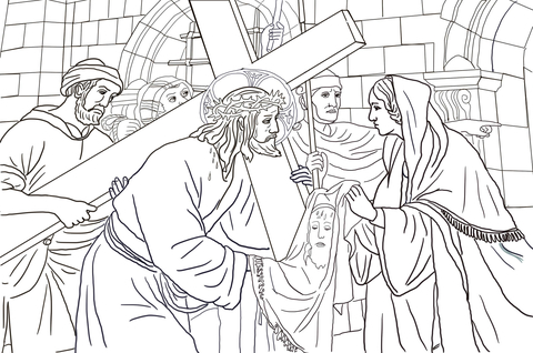 Clipart of vironivca wipes the face of jesus svg black and white Sixth Station - Veronica Wipes the Face of Jesus coloring page ... svg black and white