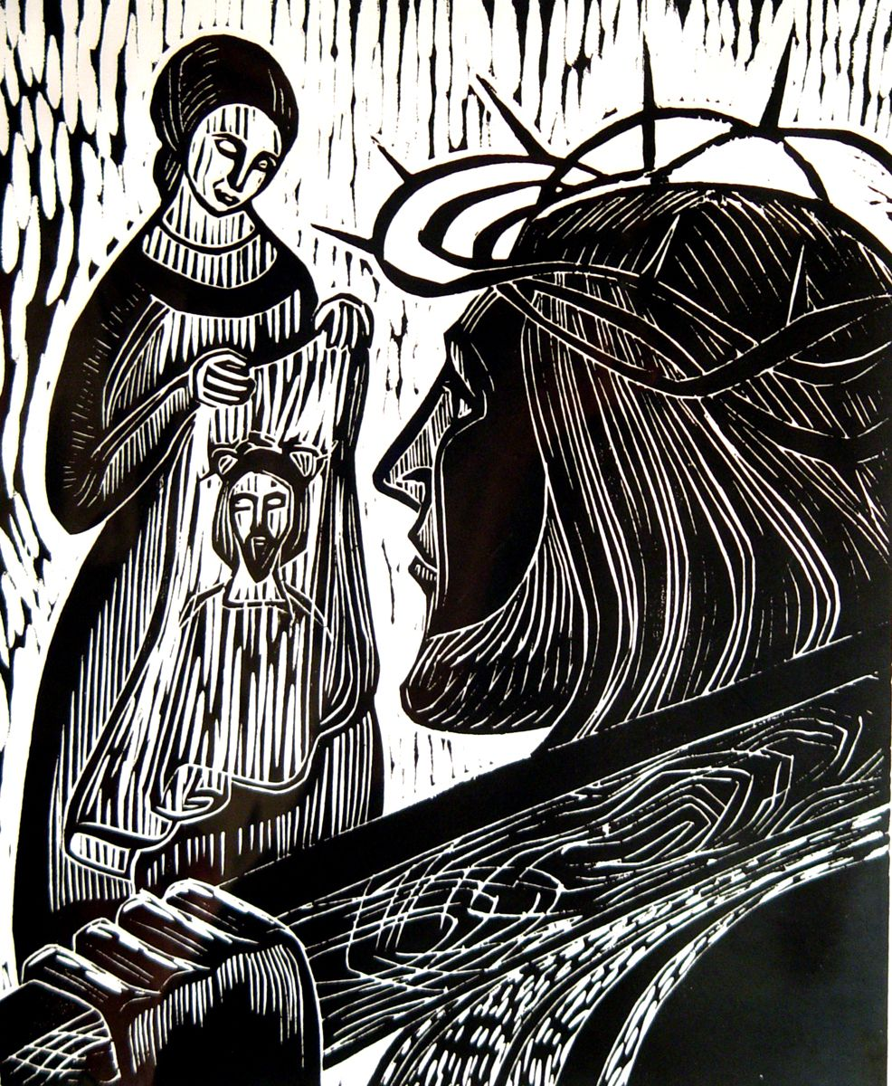 Clipart of vironivca wipes the face of jesus svg black and white library 6th Station ~ Veronica wipes the face of Jesus - by Sister Mary ... svg black and white library