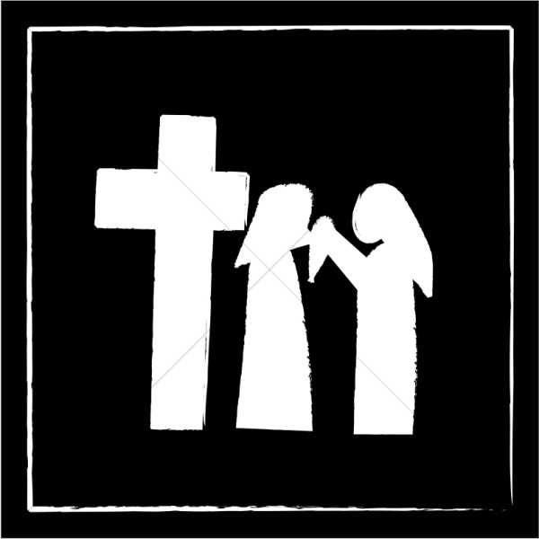 Clipart of vironivca wipes the face of jesus banner stock Veronica and Christ at the Cross | Stations of the Cross Clipart banner stock