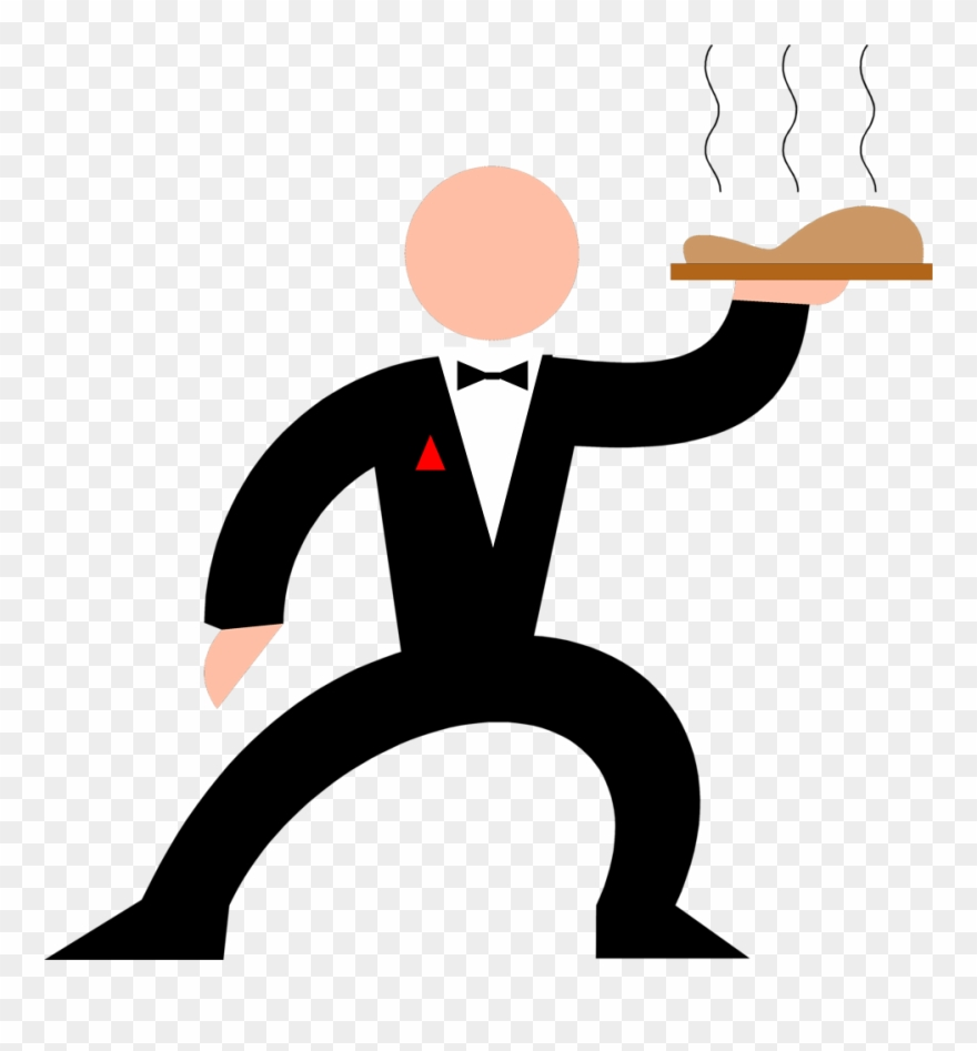 Clipart waiters vector library library Hand Clipart Waiter - Waiter Cartoon Transparent Background - Png ... vector library library