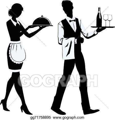 Clipart waiters clipart royalty free library Vector Illustration - Silhouette waiters . EPS Clipart gg71758895 ... clipart royalty free library