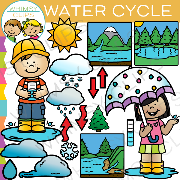 Clipart of water cycle banner freeuse download Water Cycle Clip Art , Images & Illustrations | Whimsy Clips banner freeuse download