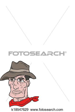 Clip art face draw. Clipart of western bad man