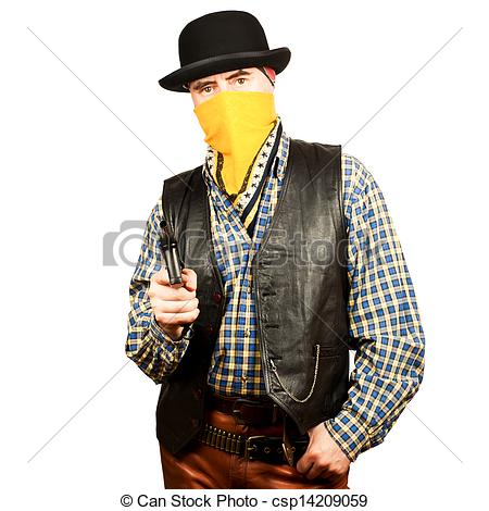 Clipart of western bad man free download Stock Images of Wild west bank robbery - bad guy on white square ... free download