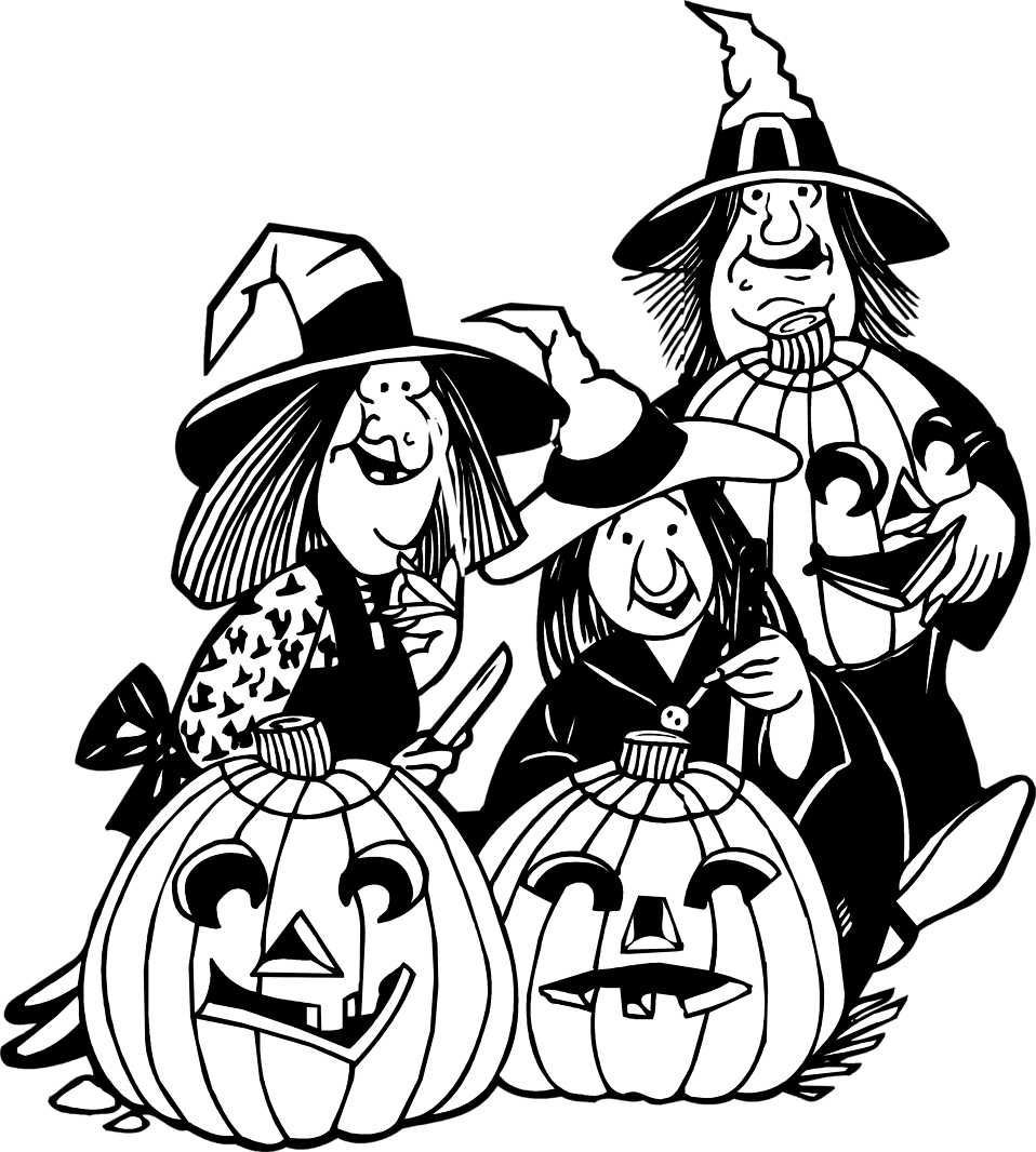 Clipart of witch and pumpkin black and white graphic library library Witches | Free Stock Photo | Illustration of witches and jack-o ... graphic library library