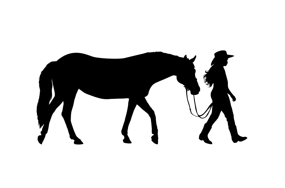 Clipart of woman riding a horse silhouette