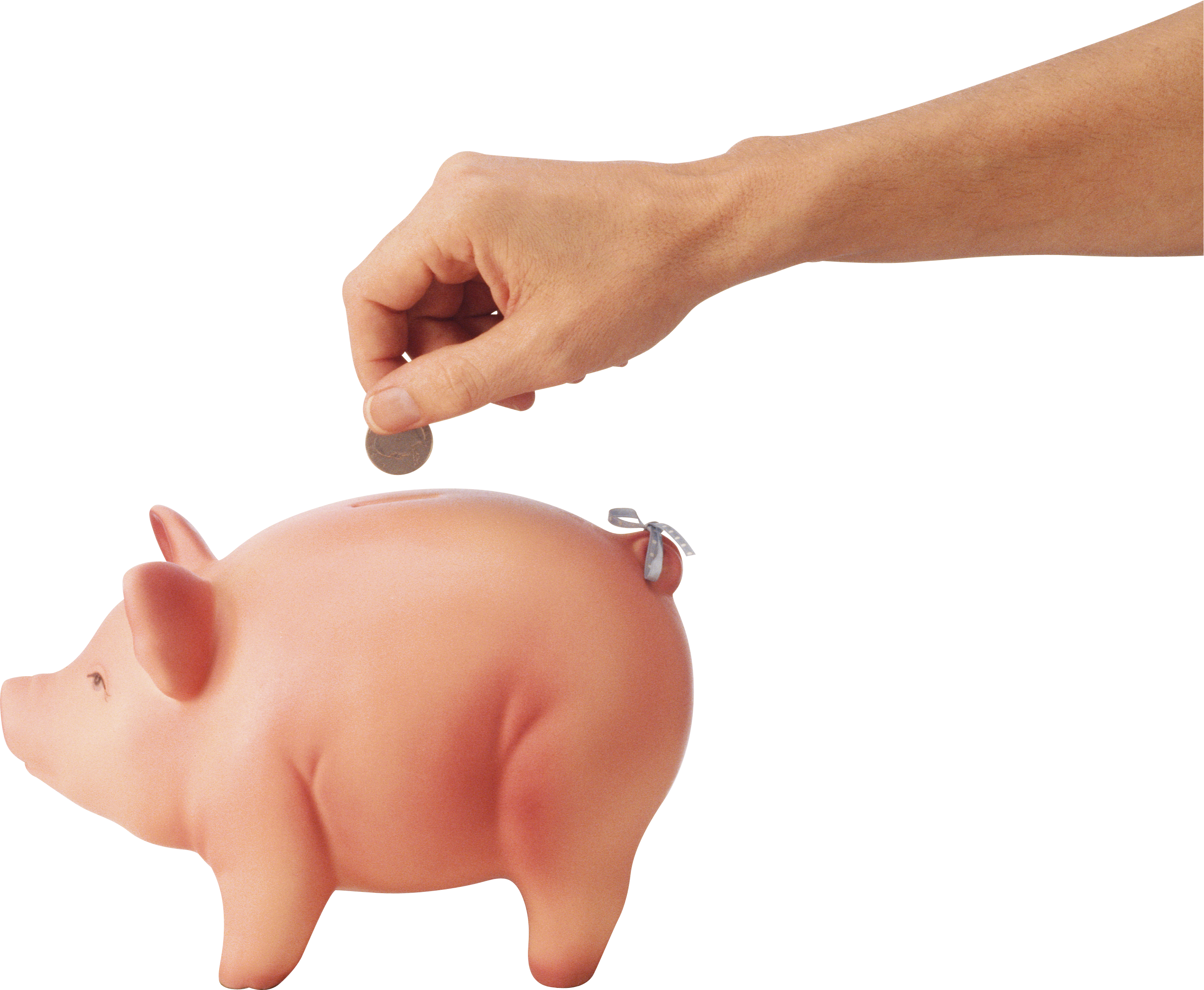 Woman holding money clipart clipart freeuse stock Hand Putting Money Into Saving Pig | Isolated Stock Photo by noBACKS.com clipart freeuse stock