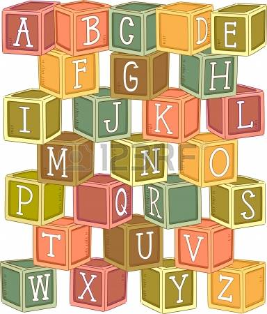 Clipart of wooden blocks with alphabet letter.  stock illustrations cliparts