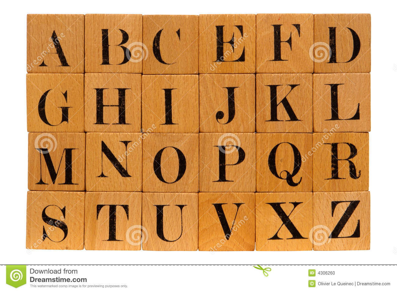 Antique wood block letters. Clipart of wooden blocks with alphabet letter