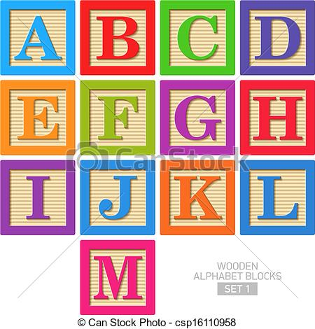 Clipart of wooden blocks with alphabet letter. Illustrations and clip art