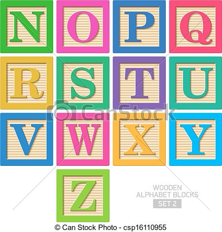Illustrations and clip art. Clipart of wooden blocks with alphabet letter
