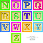 Block clip art illustrations. Clipart of wooden blocks with alphabet letter