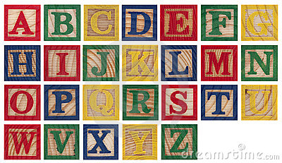 Clipart of wooden blocks with alphabet letter. Baby set capital letters