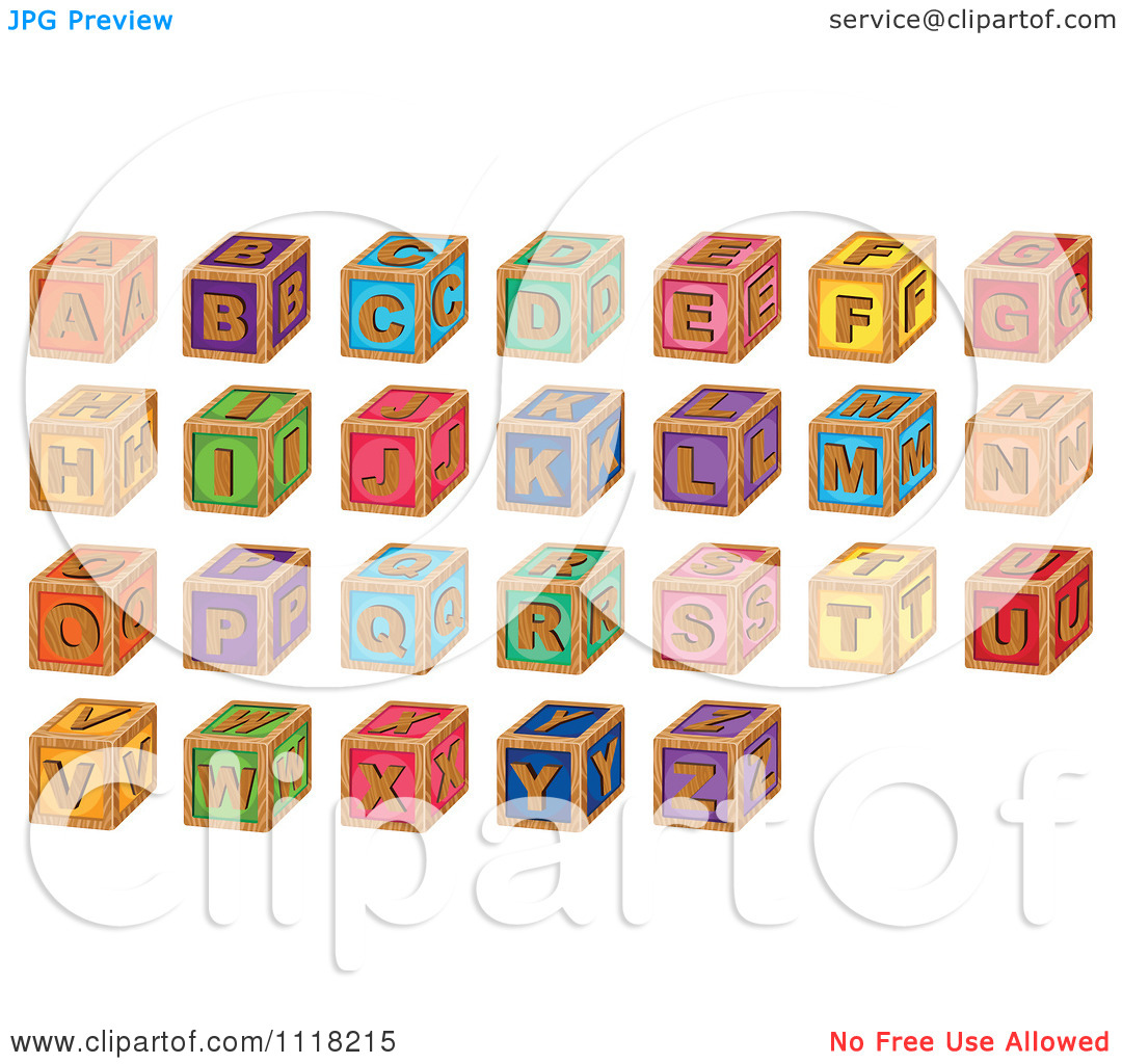 Clipart of wooden blocks with alphabet letter image stock Vector Clipart Of Wooden Toy Alphabet Blocks - Royalty Free ... image stock
