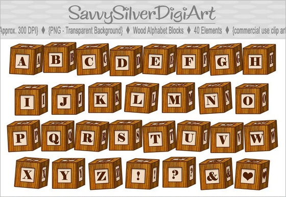 letters free download. Clipart of wooden blocks with alphabet letter