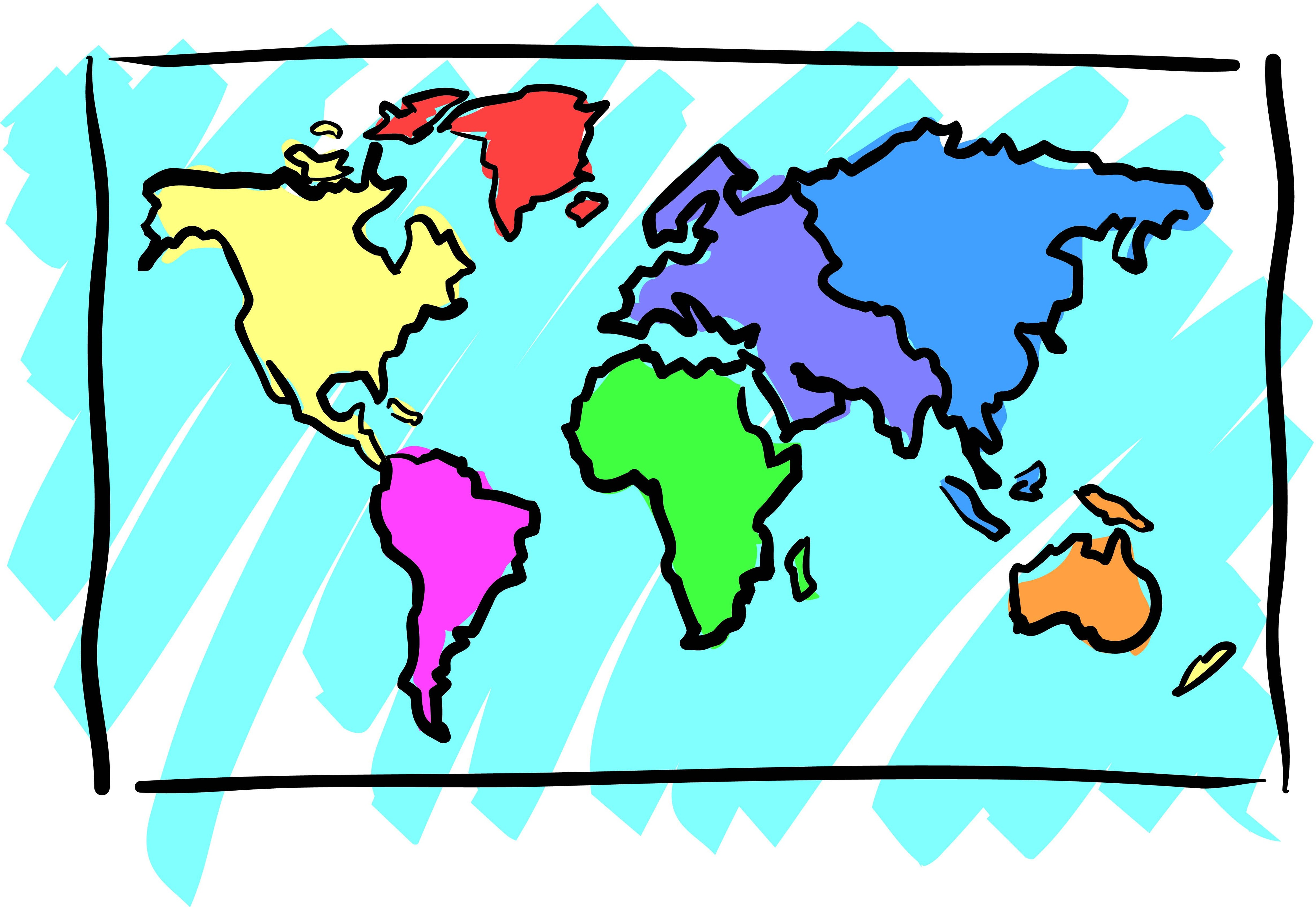 Clipart of world map jpg library World map clipart easy - ClipartFest jpg library