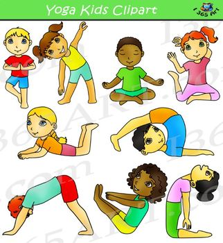 Yoga kid clipart vector download Kids Doing Yoga Clipart vector download