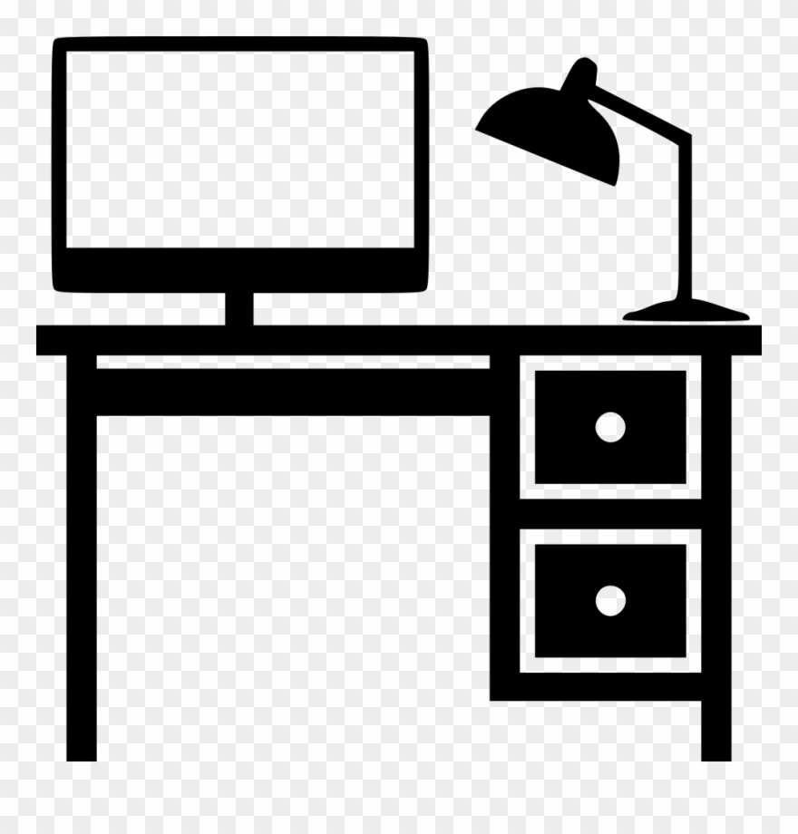 Clipart office furniture royalty free stock Banner Black And White Desk Svg Png Icon Download Onlinewebfonts ... royalty free stock