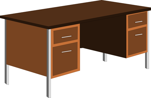 Clipart office furniture black and white library Office Desk Clip Art at Clker.com - vector clip art online, royalty ... black and white library