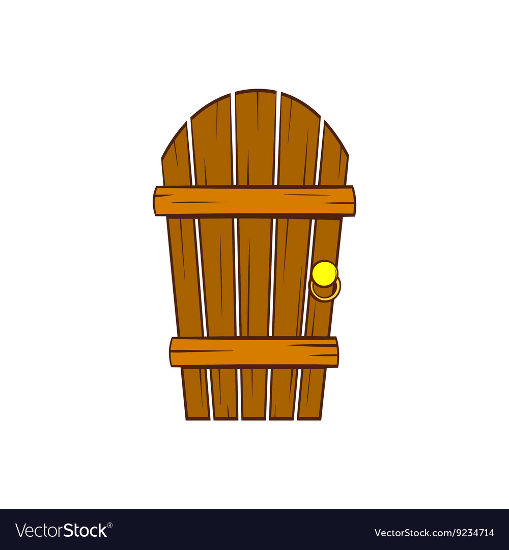 Clipart old door image royalty free Old arched wooden door icon cartoon style image royalty free