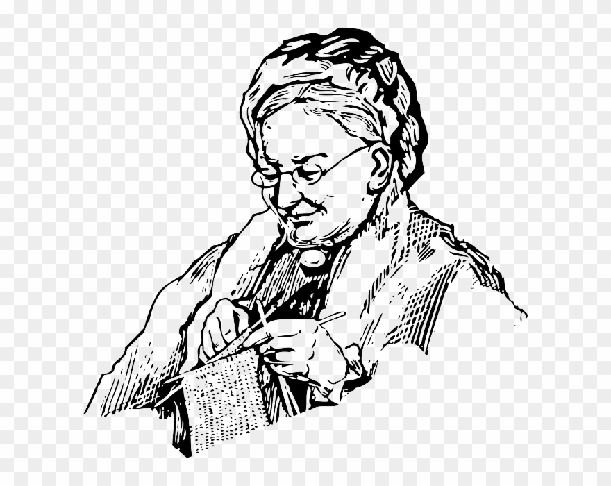 Clipart old lady crocheting graphic transparent library Woman, Knitting, Grandma, Old, Lady, Knit, Needles - Comma Can Save ... graphic transparent library