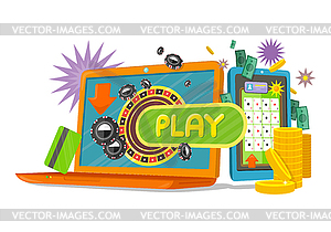 Clipart online games svg royalty free stock Online Games Banner with Laptop and Mobile Phone - vector EPS clipart svg royalty free stock