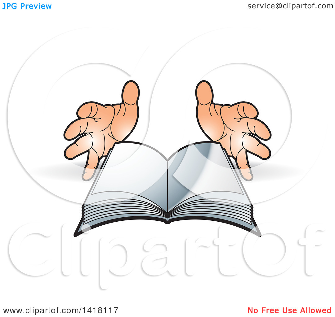 Clipart open book in hands clip art free library Clipart of a Pair of Hands and Open Book - Royalty Free Vector ... clip art free library
