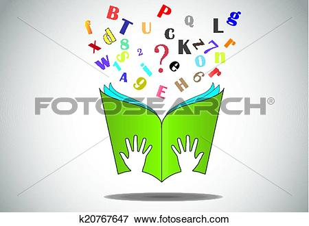 Clipart open book in hands clip download Clip Art of hand hold open book flying letters k20767647 - Search ... clip download