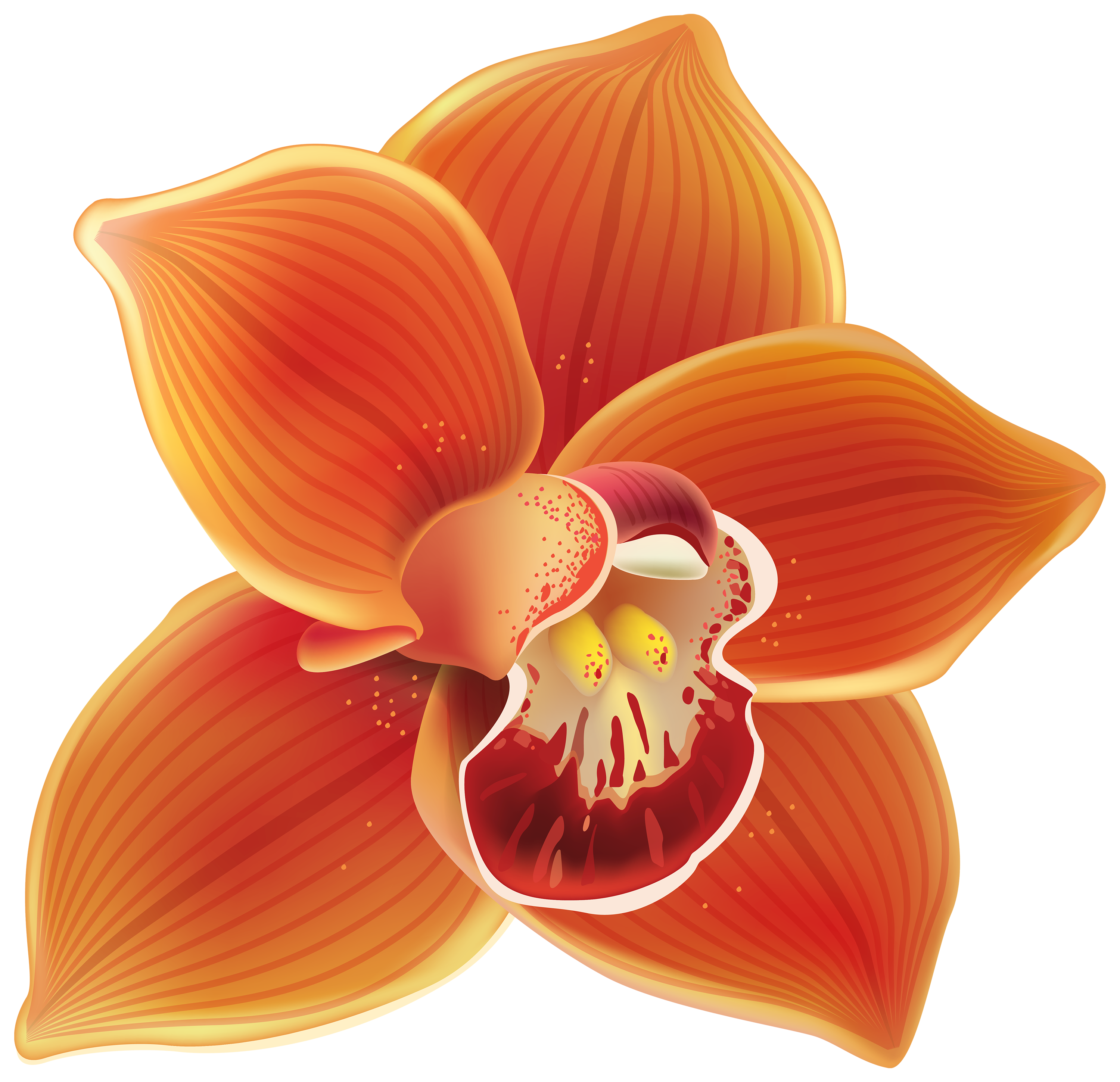 Orchid flower clipart clipart black and white stock Orange Orchid PNG Clipart - Best WEB Clipart clipart black and white stock
