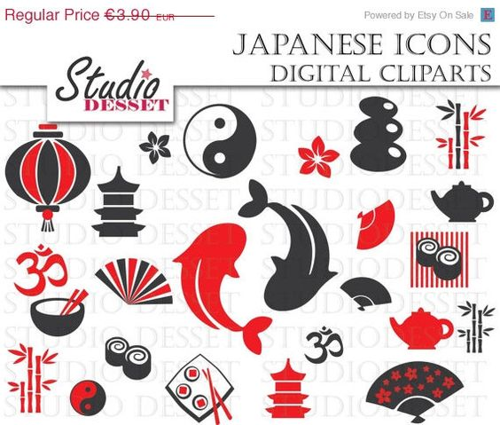 Clipart oriental gratuit jpg library SALE Japanese Icons, Japan Clipart, Oriental Sushi, Koi Fish ... jpg library