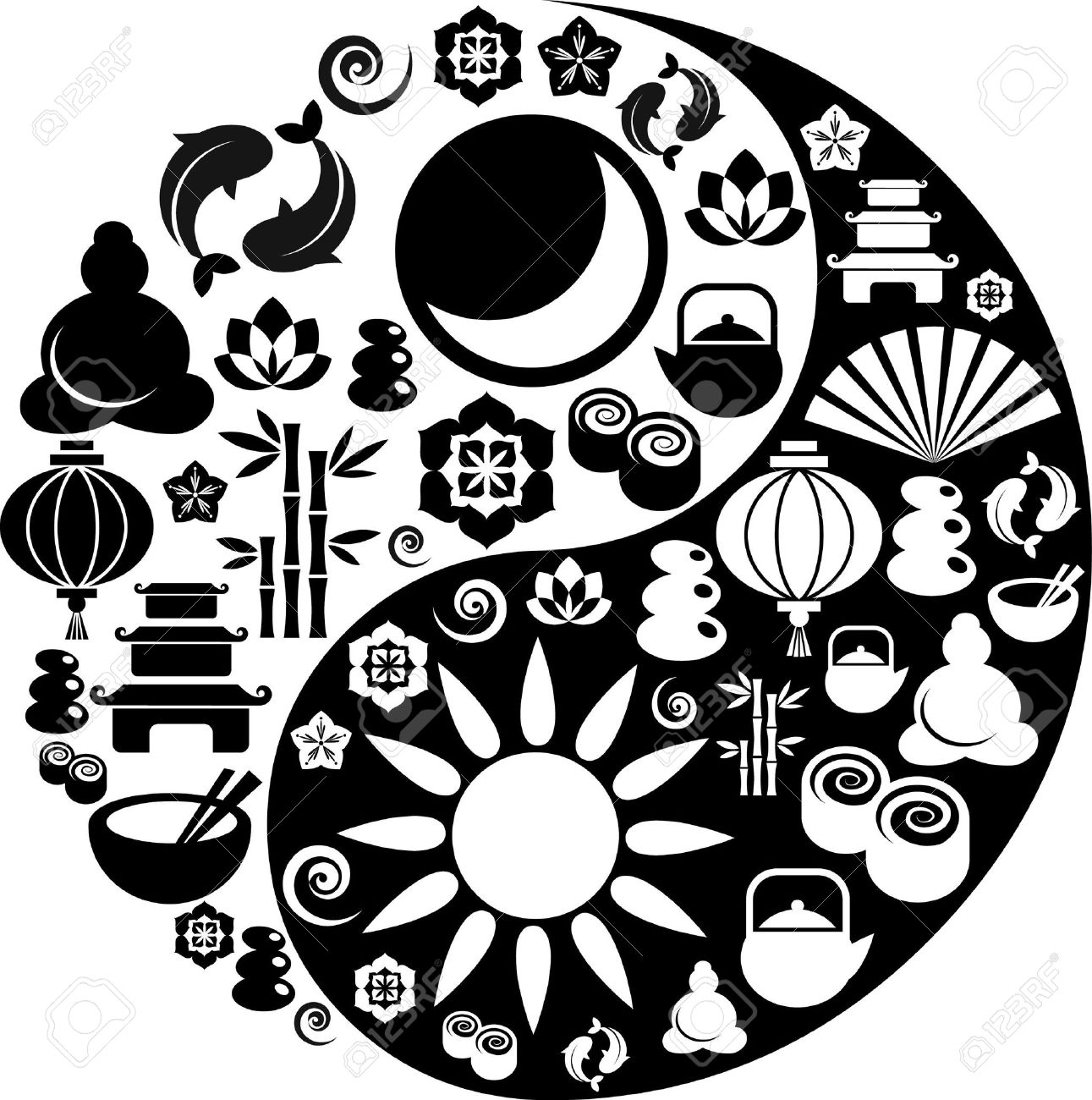 Clipart oriental gratuit clip art freeuse download Black And White Vector Yin-Yang With Collection Of Zen And ... clip art freeuse download