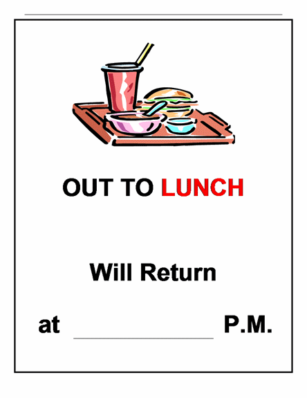 Clipart out to lunch jpg library library Out to lunch sign clipart - ClipartFest jpg library library