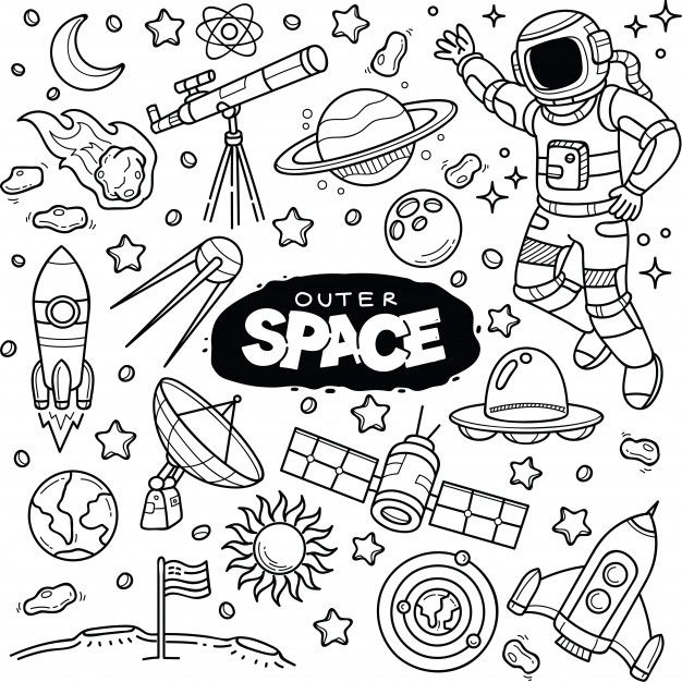 Clipart outer space neat black and white graphic free download Outer space doodles Vector | Premium Download | bujo in 2019 | Space ... graphic free download