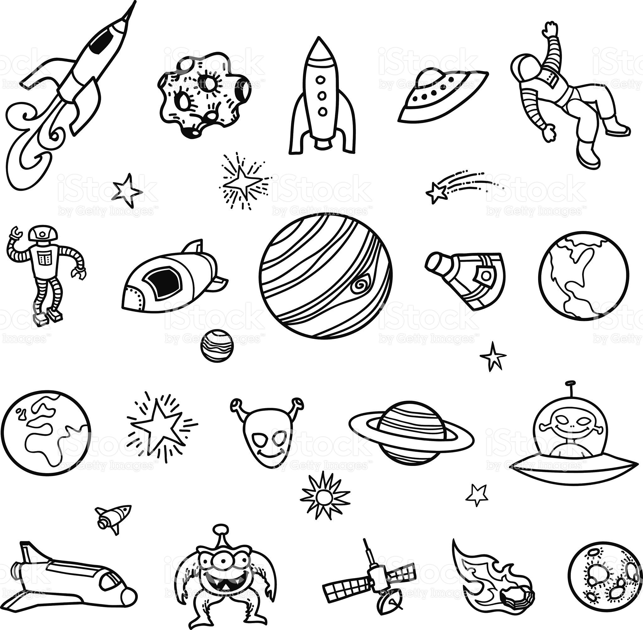 Clipart outer space neat black and white vector royalty free library A set of hand-drawn, unfilled line drawings of space ships, planets ... vector royalty free library