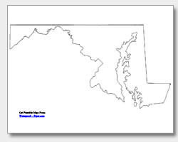 Clipart outline map of delaware and maryland together png Printable Maryland Maps | State Outline, County, Cities png