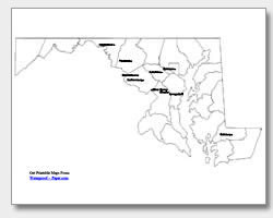 Clipart outline map of delaware and maryland together vector black and white library Printable Maryland Maps | State Outline, County, Cities vector black and white library