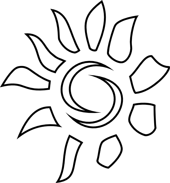 Clipart outline of sun picture black and white Sun Pattern Outline Clip Art at Clker.com - vector clip art online ... picture black and white