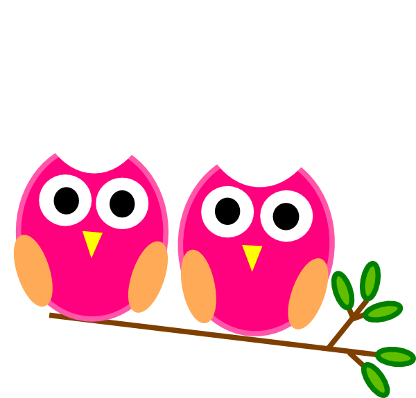 Tree with owl clipart graphic library Pink Owls On Branch Clip Art at Clker.com - vector clip art online ... graphic library